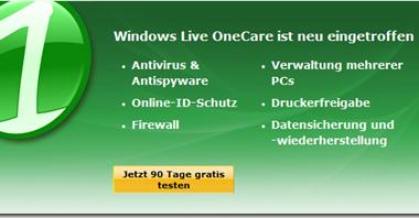 Windows Live OneCare 90 Tage Testversion verfügbar