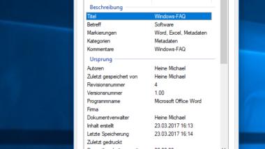 Metadaten der Dateieigenschaften löschen