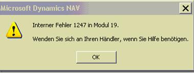 Dynamics NAV – Interner Fehler 1247 in Modul 19 (Update rollup 956161)