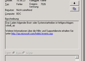 Dienst startet nicht – CDUDF_XP