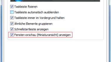 Vorschaufenster der Vista Taskleiste aktivieren/deaktivieren