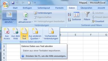 CSV Dateien mit Excel 2007 öffnen