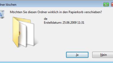 Löschbestätigung beim Löschen von Dateien/Ordnern deaktivieren