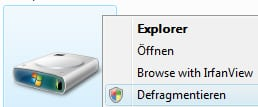 Defragmentierung direkt aus dem Explorer aufrufen (Kontextmenü)
