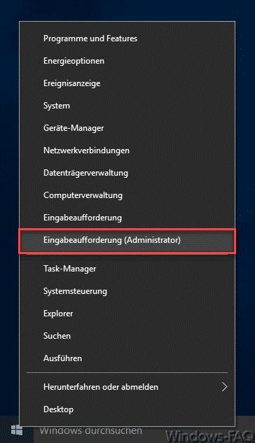 Win-X Menü Eingabeaufforderung Administrator