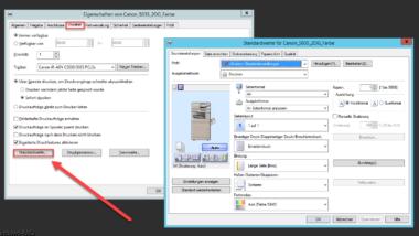 Zentrale Client-Druckereinstellungen von Netzwerkdruckern (Standardwerte)