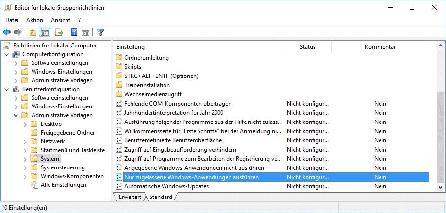 Nur zugelassene Windows Anwendungen ausführen