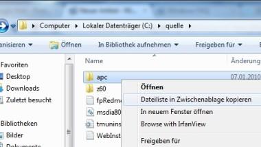 Liste der Dateinamen von Ordnern per Explorer-Kontextmenü kopieren