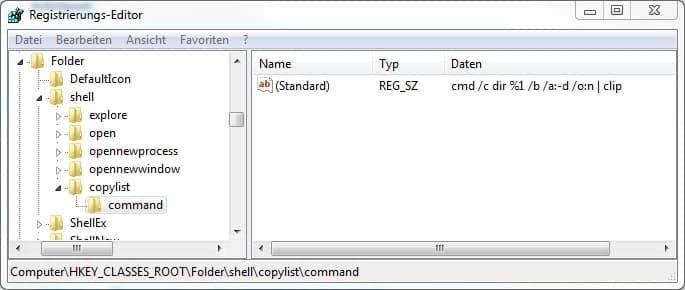 registry-dateiliste