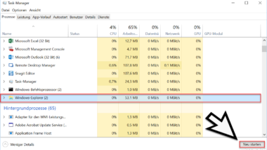 Versteckter Trick um den Windows Explorer zu beenden und neu zu starten