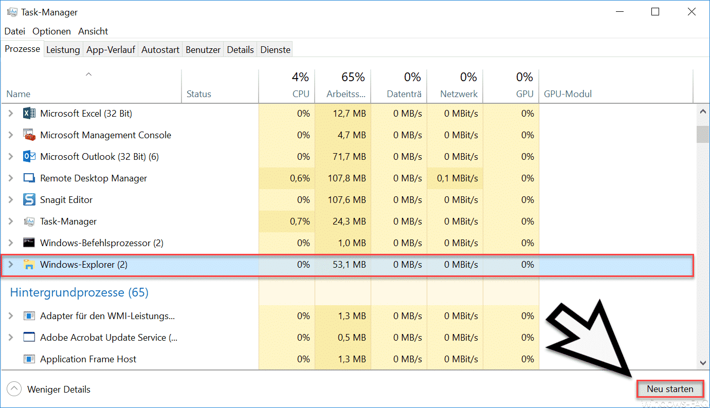 Windows Taskmanager Windows Explorer neu starten