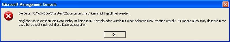 Die Datei compmgmt.msc kann nicht geöffnet werden.
