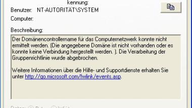 """Ereignis 1054 im Ereignisprotokoll """"Der Domänencontrollername …."""""""