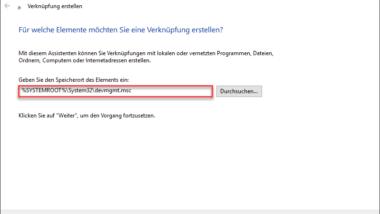 Gerätemanager direkt über neues Icon auf dem Desktop aufrufen
