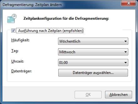Zeitplankonfiguration Defragmentierung Ausführung