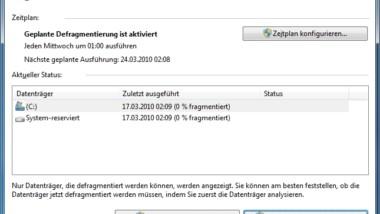 Automatische Defragmentierung bei Vista und Windows 7 deaktivieren
