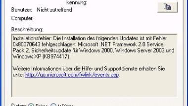 Error 0x80070643 bei Windows Updates (.Net Framework)