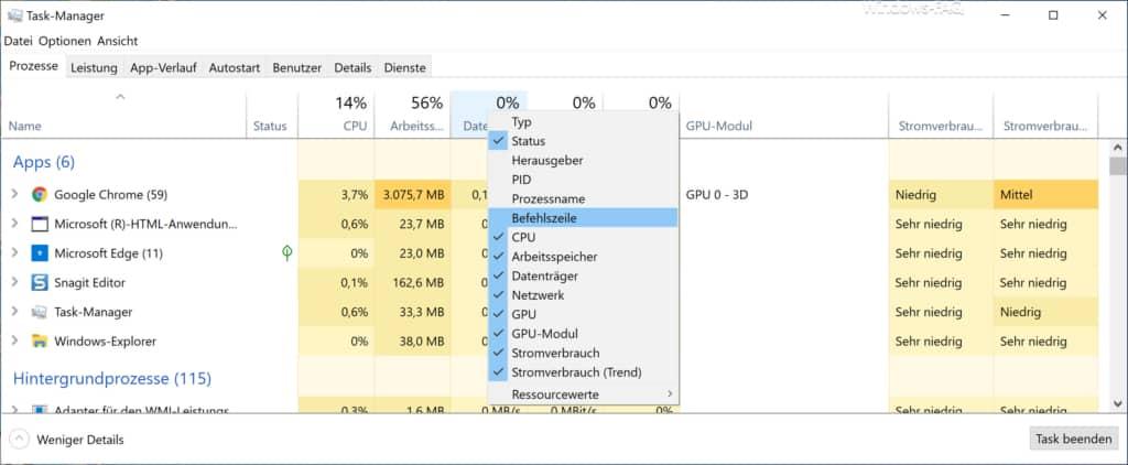 Befehlszeile im Windows 10 Taskmanager einblenden