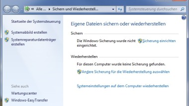 Error 0x80070026 bei Windows 7 und Vista Backup