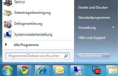 Systemsteuerung Windows Startmenü