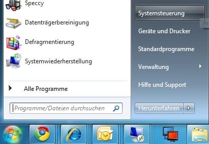 Windows Startmenü mit Systemsteuerung