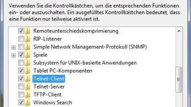 Telnet unter Windows Vista und Windows 7 aktivieren
