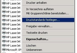 Drucker Standardwerte auf Windows 2008 R2 Printserver