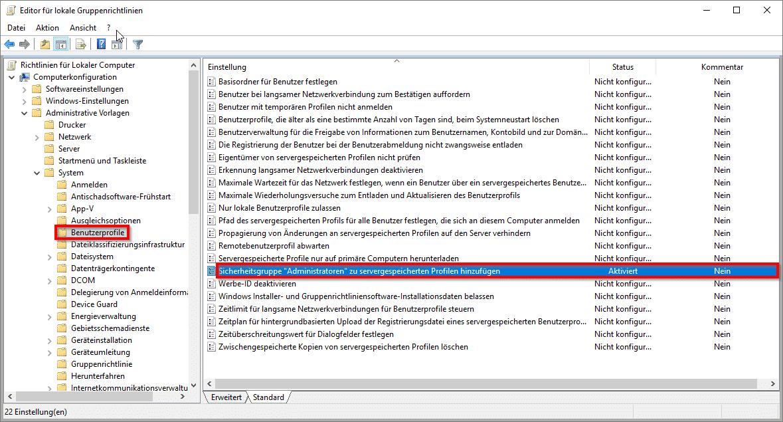Sicherheitsgruppe Administratoren zu servergespeicherten Profilen hinzufügen - Administrator Zugriff auf .V2 Profile