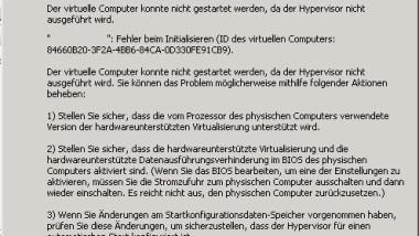 Hyper-V-Manager – Meldung Hypervisor wird nicht ausgeführt