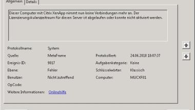 Citrix Event ID 9017 im Ereignisprotokoll eines XenApp Servers