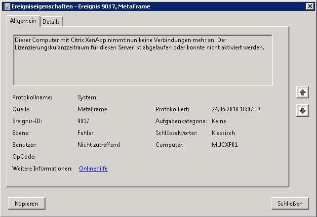 Citrix Fehler Ereignis ID 9017