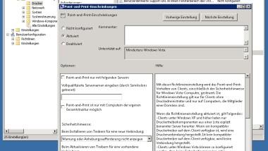 Netzwerk Druckertreiber Installationsabfrage bei Windows 7 Clients abschalten