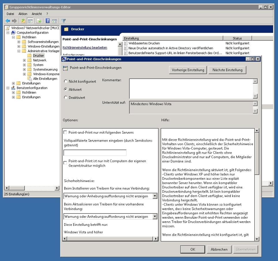 Treiber von Netzwerkdruckern in einer Windows Domäne ohne Installationsnachfrage