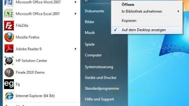 Windows 7 Home Verzeichnis auf dem Desktop anzeigen
