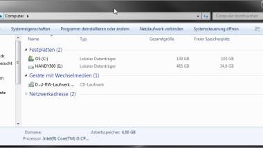 Windows 7 Explorer mit Computeransicht starten