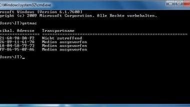 Getmac – Befehl um Mac-Adressen anzeigen zu lassen