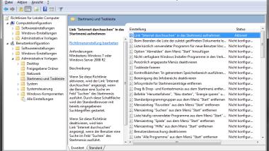 """""""Internet durchsuchen"""" in das Windows 7 Startmenü mit aufnehmen"""