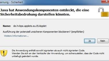 """Java Warnung """"Sicherheitsbedrohung in Anwendungskomponenten"""" abschalten"""