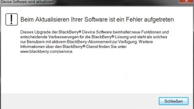 Blackberry Firmware Aktualisierung Fehlermeldung
