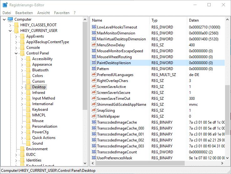 Windows Registry PaintDesktopVersion