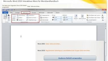 Menüführung der Office 2010 Anwendungen durch interaktives Handbuch leicht erklärt