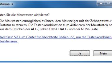 Tastaturmaus unter Windows 7 aktivieren