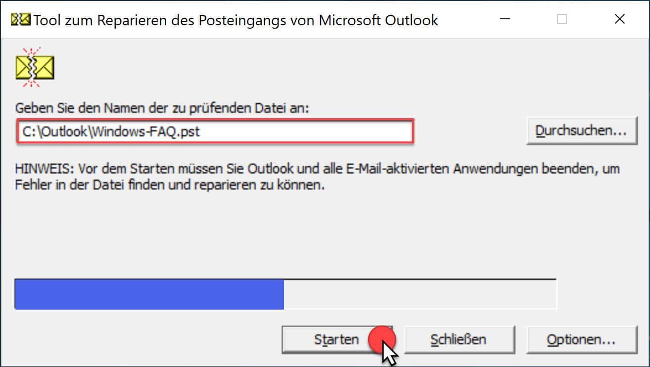 Scanpst Tool zum Reparieren des Posteingangs von Microsoft Outlook
