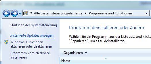 Windows Programme und Funktionen - IE deinstallieren