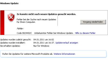 Fehler Code 8024402C beim Windows Update