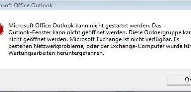 """Fehlermeldung """"Outlook kann nicht gestartet werden….."""""""