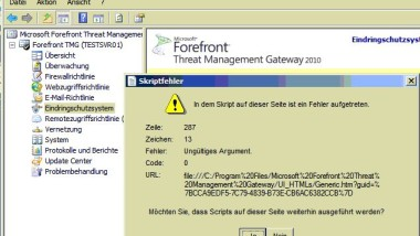 Fehlermeldung beim TMG 2010 nach IE9 Installation