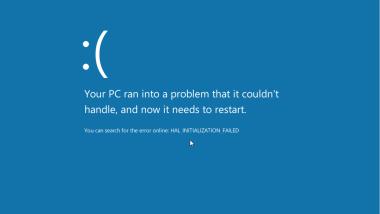 Windows 8 – Fehler bei der Installation – HAL_INITIALIZATION_FAILED