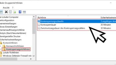 Windows nach ungültigen Anmeldungen automatisch sperren
