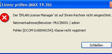 EPLAN Fehlermeldung DCOM 0x80040154 – Klasse nicht registriert